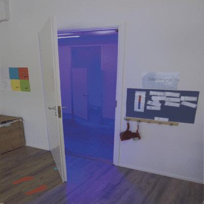 Et badeværelse dekontamineret af UVC lys